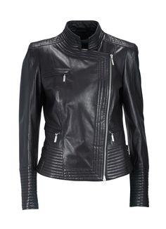 Veste Elégance Paris, craquez sur la Veste en cuir noir Elégance de la Boutique Elegance Paris prix 489,00 € TTC