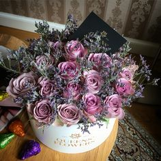 Queen Catherina, full of purple roses. Luxury flowers in boxes made in Riga, Latvia.  QueensFlowers.lv