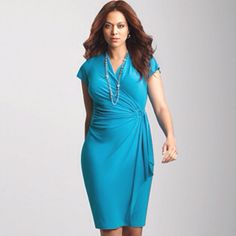 Avenue Faux Wrap Ring Dress $68.00 office and curves appropriate