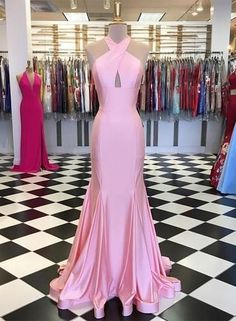 Simple Pink Satin Mermaid Long Evening Dress, Bridesmaid Dress from Sw… Prom Dresses Long Pink, Lace Evening Dresses, Mermaid Prom Dresses, Evening Gowns, Bridesmaid Dresses, Formal Dresses, Dress Long, Dance Dresses, Party Dresses