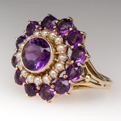 Vintage 1970's Amethyst and Pearl Two Part Ring