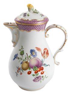 "Coffeepot, Shape ""Neuer Ausschnitt"", Fruits and flowers, early style, mosaic, gold border, gold rim, V 1,20 l"