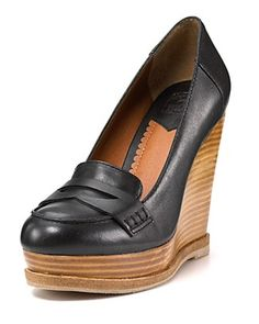 """Lucky Brand """"June"""" Penny Loafer Wedges: Grown up penny loafers in black or tortoise for fall. $119. #Loafers #Lucky_Brand"""
