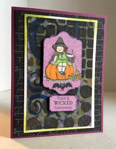 A #paperpiecing #witch on a #GelliArts print. #stampinup #halloween2017 www.paperseedlings.com
