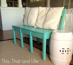 Teal Bench Before and After via This, That and Life
