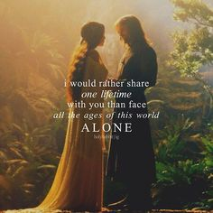 Luminous, honest words from Arwen to Aragorn in the garden of Rivendell - The Lord Of The Rings Jrr Tolkien, Tolkien Quotes, Gandalf Quotes, Tolkien Books, Fellowship Of The Ring, Lord Of The Rings, Aragorn Und Arwen, Le Couple Parfait, Cute Love
