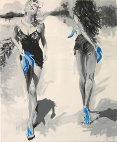 Janusz Haka, Night & Day, Serigrafia e intervento a mano su tela, 100x120 cm