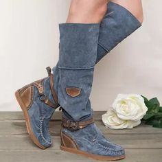 US$ 57.99 - Women Casual Comfy Mid-Calf Boots - www.insboys.com Thigh High Boots Flat, Flat Heel Boots, Mid Calf Boots, Heeled Boots, Women's Over The Knee Boots, Boho Boots, Punk Boots, Warm Boots, Winter Boots