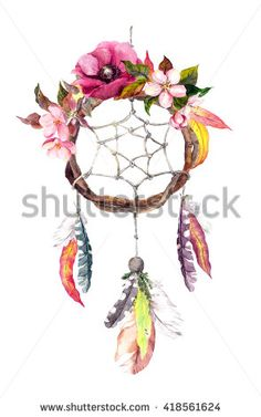 Dream catcher (dreamcatcher) with feathers, autumn leaves and flowers. Autumn watercolor in boho style