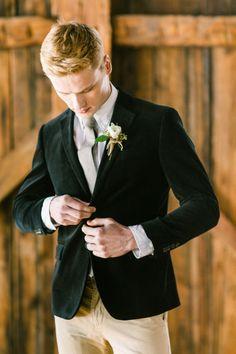 Velvet blazer/black/khaki