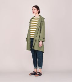 Oversized, gently A-line swing parka in softest cotton - TOAST