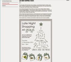 Monday, 10 November 2014:  (Online) oxfordstreet.co.uk - Grays Late night shopping event coinciding with the South Molton Street Christmas light switch-on, featured on the oxfordstreet.co.uk website.