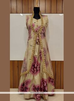 Add a vibrant burst of colour with your wardrobe with this pink silk designer gown. The attractive print work through the attire is awe inspiring. (Slight variation in color, fabric & work is possible. Buy Gowns Online, Indian Fashion Online, Saree Draping Styles, Indian Bridal Wear, Designer Gowns, Pink Silk, Saree Wedding, Party Fashion, Saree Blouse