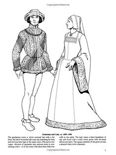Tudor and Elizabethan Fashions (Dover Fashion Coloring Book) Coloring Book Art, Cool Coloring Pages, Adult Coloring Pages, Coloring Sheets, Elizabethan Fashion, Renaissance Fashion, Historical Costume, Historical Clothing, 15th Century Fashion