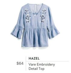 Super cute in color and embroidery. Stitch Fix- Hazel - Vare Embroidery Detail Top Stitch Fix Stylist, Playing Dress Up, Spring Summer Fashion, Spring Style, Style Me, Personal Style, Bell Sleeve Top, Style Inspiration, How To Wear