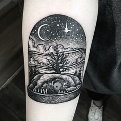 Hobbit house in bell jar. #btattooing @blacktattooing #blackworkers_tattoo #blackworkerssubmission @blackworkers @blacktattooart @darkartists