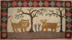 Lions in the Woods Hand Hooked Rug