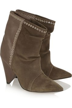 Isabel Marant | Lance embellished suede and leather ankle boots | NET-A-PORTER.COM