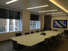 """65"""" Samsung Interactive Touchscreen Display  Lutron QS Wireless Motorized Shades  Lutron RadioRA2 lighting  Video Conferencing  Interactive Whiteboard  Law Office Boardroom AV Motorized Shades, Interactive Whiteboard, Cloud 9, Law, Commercial, Samsung, Display, Lighting, Table"""