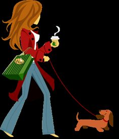 The future me walking with my weenie and of course Starbucks