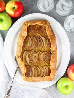 This Salted-Butter Apple Galette Is A Rustic Take On The Classic Apple Pie. A Sugared Crunchy Crust, Tart and Sweet Tender Apples, With Maple Whipped Cream. By means of H_Tasteandsee Mini Christmas Cakes, Christmas Desserts, Thanksgiving Recipes, Fall Recipes, Authentic Mexican Desserts, Apple Galette, Pudding Recipes, Healthy Dessert Recipes, Recipes