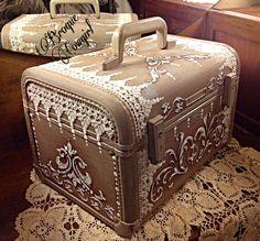 Vintage train case painted decoupage wedding luggage