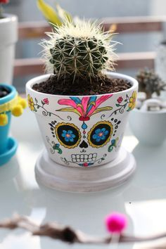 Day Of The Dead Sugar Skull Terracotta Cactus Planter Pot