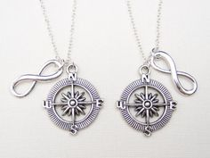Unique sisters jewelry, best friends necklaces, set of two necklaces with detailed antique silver plated compass charm and infinity charm.    -