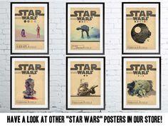 STAR WARS TRILOGY Episode 4 5 6 Movie Set Posters Retro