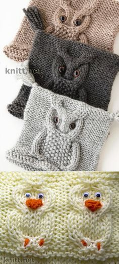 "Las cintas ""Сова"" y ""Уточка"" para el acabado de las cosas infantiles Baby Boy Knitting Patterns, Knitting For Kids, Knitting Projects, Owl Patterns, Stitch Patterns, Crochet Patterns, Knitted Owl, Knitted Hats, Knitted Squares Pattern"