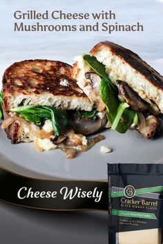This is the grownup grilled cheese you've been waiting for. Start with your favorite bread, then add thick slabs of Cracker Barrel Vermont Sharp White Cheddar. Then mix in onion, mushrooms, and spinach for an artisanal-quality grilled cheese sandwich. Veggie Recipes, Vegetarian Recipes, Dinner Recipes, Healthy Recipes, Beef Recipes, Healthy Cooking, Healthy Eating, Cooking Recipes, Kitchen Recipes