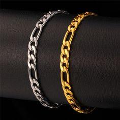 U7 Bracelet Men Jewelry Wholesale Gold/Platinum/Black Gun Plated 316L Stainless Steel 5MM Wide Figaro Chain Men Bracelet H539