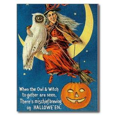Vintage Witch Halloween Designs Post Card