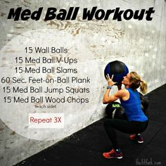 Med Ball Workout - a full body workout that will improve functional fitness Fun Workouts, Ball Workouts, Workout Ball, Swimming Workouts, Core Workouts, Exercise Ball, Outdoor Workouts, Cardio Gym, Workout Routines