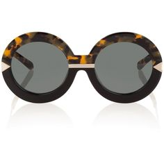 Karen Walker Hollywood Pool Sunglasses (£235) ❤ liked on Polyvore featuring accessories, eyewear, sunglasses, karen walker glasses, 2 tone sunglasses, round tortoiseshell sunglasses, tortoise shell sunglasses and tortoiseshell glasses