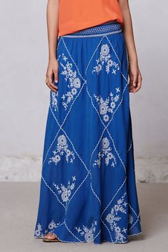 Ping Embroidered Maxi Skirt - Anthropologie