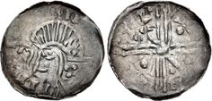 Hiberno-Norse. Circa 1095/1100-1150. AR Penny (18mm, 0.46 g). Phase VI coinage, Long Cross type. Uncertain mint signature and moneyer. Bust left; croizer before, quatrefoil on neck / Voided long cross; pellets and scepters in opposite quarters. O'S 22; SCBI 8 (BM), 366-75; D&F 32; SCBC 6187. Good VF, toned Phase Iv, Medieval, Hand Symbols, Quatrefoil, Seals, Vikings, Coins, Scotland, Ireland