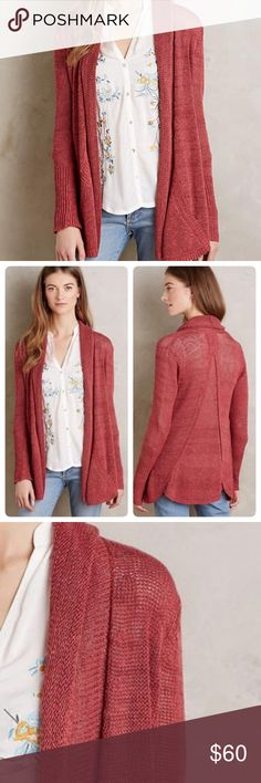 "Anthropologie Angel Of The North knit cardigan Gorgeous Anthropologie Angel Of The North Cascade open front cardigan. Excellent condition no flaws. Love this sweater! Perfect for fall! Front pockets. Back seamed insert. Very comfortable. 20"" across from armpit to armpit and 29"" long from shoulder to hem says XS but fits more like a small pretty rose color Anthropologie Sweaters"