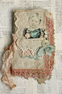 MIXED MEDIA FABRIC COLLAGE BOOK ... offered by 'apricotpies' on eBay