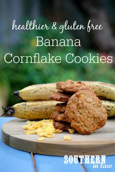 Low Fat Banana Cornflake Cookies Recipe low fat, gluten free, healthy, healthier, lower sugar, refined sugar free