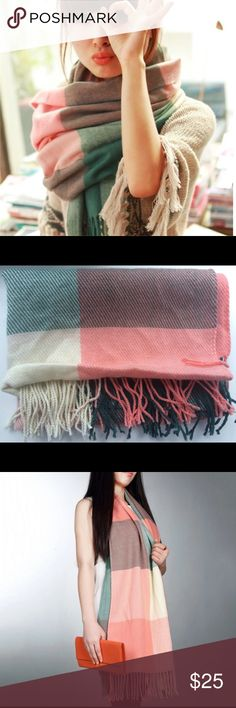 Fall Winter Shawl Scarf Wrap Blanket Oversized Brand new and good quality. Soft 100% Cotton.  Instagram and Bloggers favorite. Very comfortable. Very fashionable. 68 inches length. No trade. Accessories Scarves & Wraps