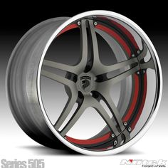 Nutek Forged Wheels Series 505 gunmetal, matte black and red w/chrome lip