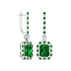 Emerald & Round Cut Green & White Cubic Zirconia & Round White Diamond... ($1,059) ❤ liked on Polyvore featuring jewelry, earrings, white, green earrings, cz drop earrings, green drop earrings, emerald green earrings and white gold earrings