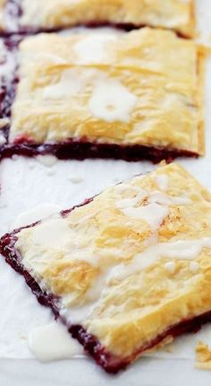 Phyllo Raspberry Pop Tarts - Pop Tarts made with Phyllo Dough Sheets and filled with a Raspberry Jam. Incredible!