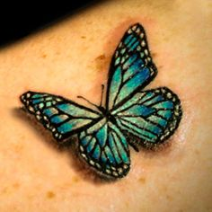 #3D #realistic blue-green #butterfly #tattoo #InkedMagazine #Inked #tattoos