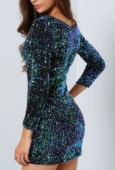 Feeling glamorous in this long sleeve sequined bodycon dress by SheIn