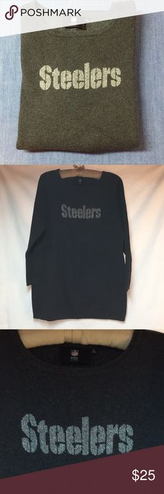 Steelers Pro Line XL Sweater ❤️ Dark gray super cute Steelers sweater I bought but never wore!!  3/4 sleeve style...It has little 'sparkles' throughout that are not overwhelming & it's a great length to look cool with black tights. Well, for short people like me anyway 🤣.  Perfect with faded denim jeans in my opinion 💕 Sweaters Crew & Scoop Necks