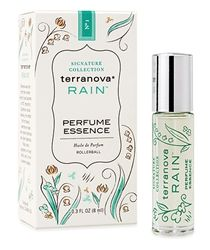 Terranova Rain Perfume Essence -- A gentle touch of this pure, alcohol-free Rain perfume releases Terranova's classic, crystalline scent universally loved for its fresh, clean and renewing aroma. Dewy clover and Spring lilies burst forth to awaken your senses, while sheer musk creates an aura of delicate sensuality.