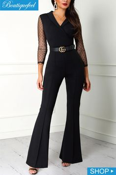 Sophisticated Work Attire and Office Outfits for Women to Look Stylish and Chic Jumpsuit Elegante, Elegant Jumpsuit, Wrap Jumpsuit, Lace Jumpsuit, Backless Jumpsuit, Look Fashion, Womens Fashion, Fashion Trends, Looks Chic