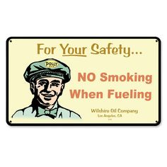 No Smoking When Fueling Gas Stations Tin Sign